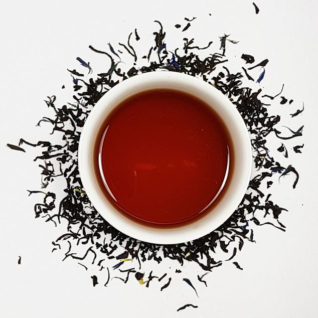 Earl Grey decaf loose leaf black tea. CO2 decaffeinated  ethically sourced tea available plastic free